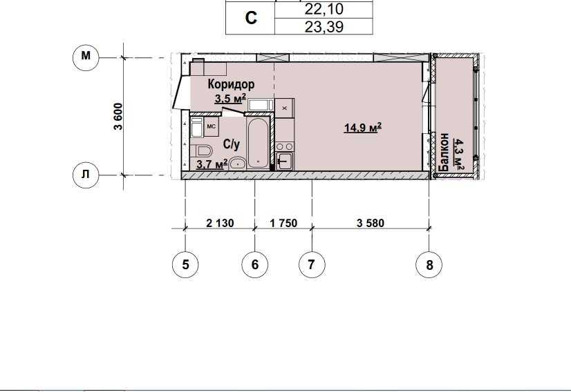Со 2 по 12 этаж . Стоимость 2058320р.