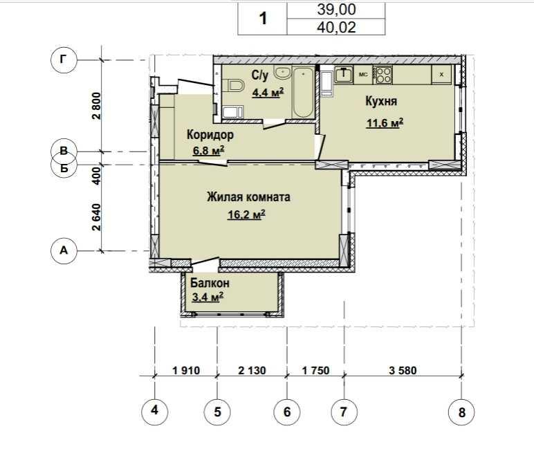 Со 2 по 12 этаж. Стоимость 3441720 руб.