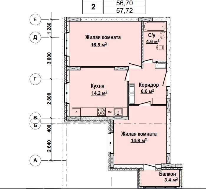 С 13 по 22 этажи. Стоимость 4 848 480руб.