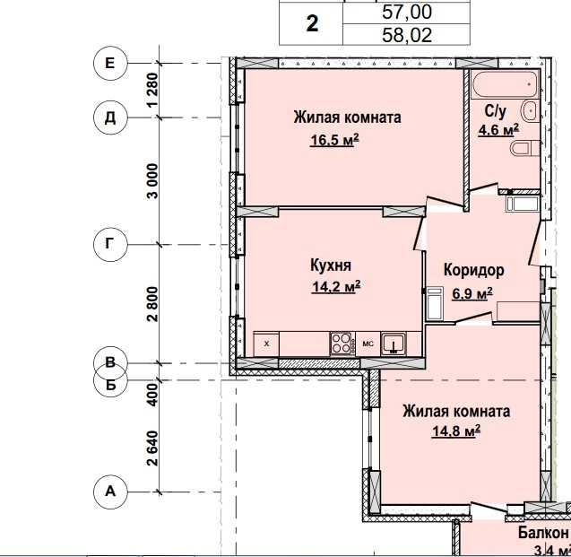 Со 2 по 12 этажи. Стоимость 4873680 руб